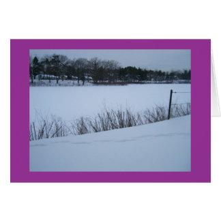 Schnee auf dem Teich (frohe Feiertage) Karte