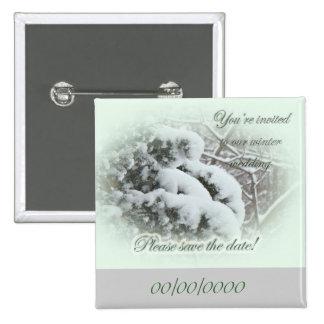 Schnee auf dem Wedding Lauben-Vitae Save the Date Quadratischer Button 5,1 Cm