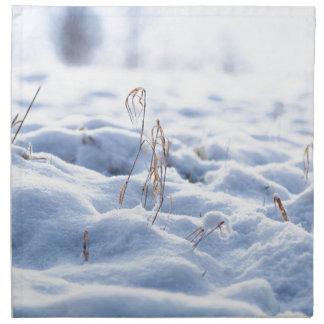 Schnee auf einer Wiese im Wintermakro Stoffserviette