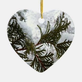 Schnee auf Immergrün verzweigt sich Keramik Ornament
