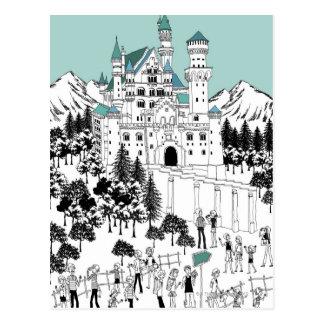 Schnee bedeckte Schloss Postkarte