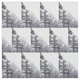Schnee-bedecktes Baum-Winter-Foto-Gewebe Stoff