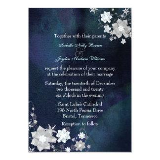 Schnee-Blumen-elegante Winter-Hochzeit 12,7 X 17,8 Cm Einladungskarte