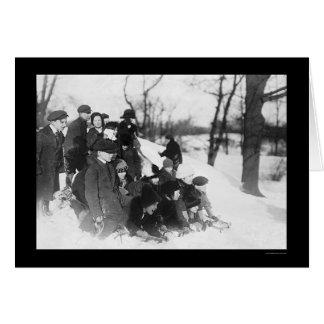 Schnee, der in Central Park 1914 Sledding ist Karte