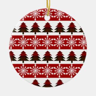 Schnee-Flocke und karierte Keramik Ornament