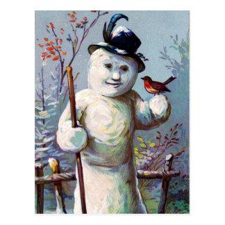 Schnee-Frau und Vogel im Wintergarten Postkarte