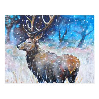 Schnee-Hirsch Postkarte