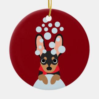 Schnee-Hundeminuten-Button Keramik Ornament