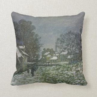 Schnee in Argenteuil durch Claude Monet, Vintage Kissen