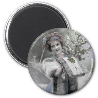Schnee-Königin - Magnet (fertigen Sie) besonders a Runder Magnet 5,1 Cm