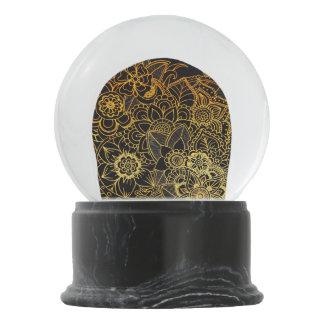 Schnee-Kugel-Blumengekritzel-Gold G523 Schneekugel