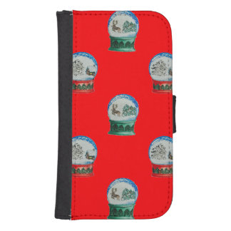 Schnee-Kugel-Mischmuster-Weihnachtsrot-Hintergrund Phone Geldbeutel