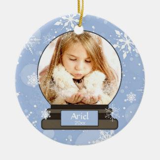 Schnee-Kugel, Weihnachten, Schneeflocken, Keramik Ornament