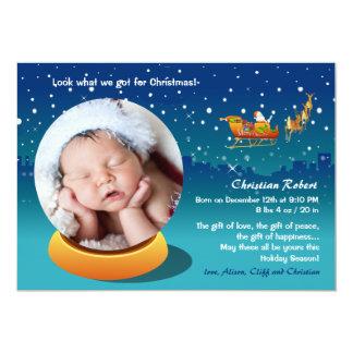 Schnee-Kugel-WeihnachtsFoto-Geburts-Mitteilung Karte