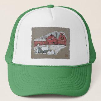 Schnee-Kühe u. Scheune Truckerkappe
