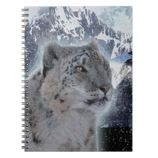 SCHNEE-LEOPARD bedrohte Art der großen Katze Notizblock