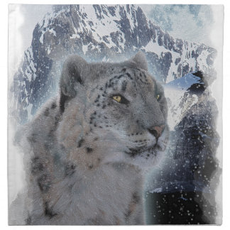 SCHNEE-LEOPARD bedrohte Art der großen Katze Stoffserviette