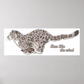 """Schnee-Leopard, der 30"""" x 10,78"""" Plakat laufen"""