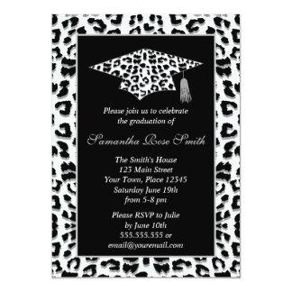 Schnee-Leopard-Druck-Abschluss-Party 12,7 X 17,8 Cm Einladungskarte