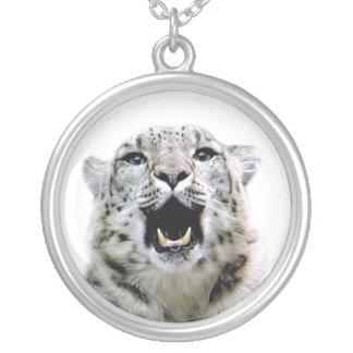 Schnee-Leopard Halskette Mit Rundem Anhänger