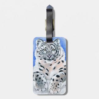 Schnee-Leopard-Kunst Gepäckanhänger