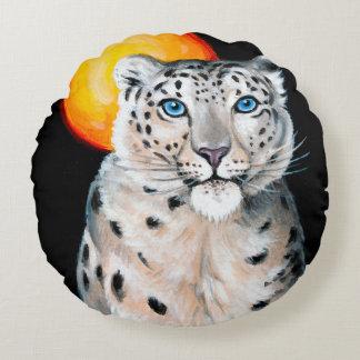 Schnee-Leopard-Mond Rundes Kissen