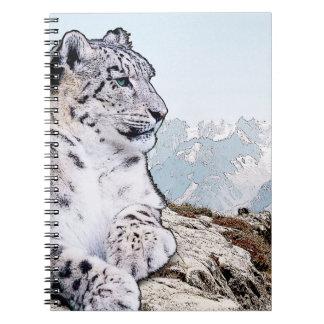 Schnee-Leopard Notizblock