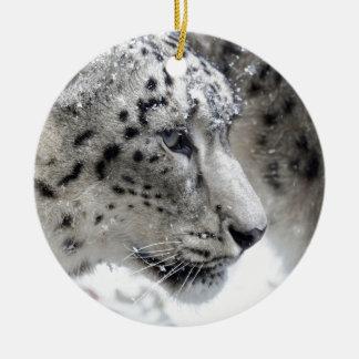 Schnee-Leopard-Porträt Keramik Ornament