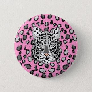 Schnee-Leopard Runder Button 5,7 Cm