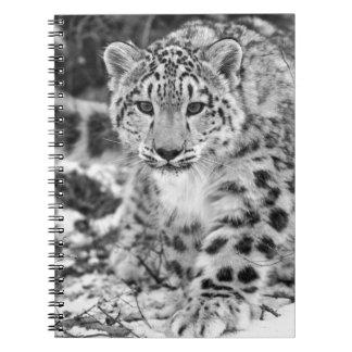Schnee-Leopard Spiral Notizblock
