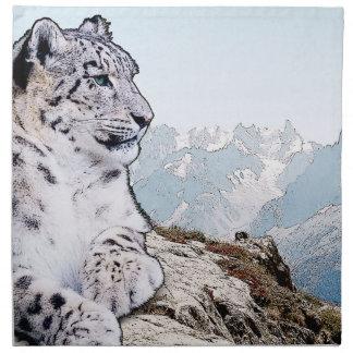 Schnee-Leopard Stoffserviette