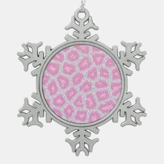 Schnee-Leopardart - silbernes Rosa Schneeflocken Zinn-Ornament