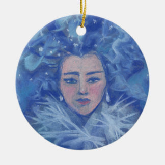Schnee-Mädchen, Winterphantasiekunst, Keramik Ornament