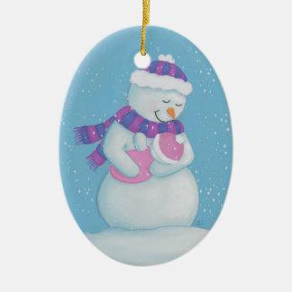 Schnee-Mamma und Schnee-Baby Keramik Ornament