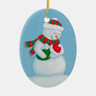 Schnee-Mamma-und Schnee-Baby-Weihnachten Keramik Ornament