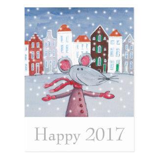 Schnee-Mäuseguten Rutsch ins Neue Jahr-Karte Postkarte