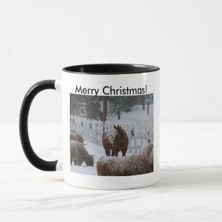 Schnee-Pferd, frohe Weihnachten von Massachusetts! Tasse