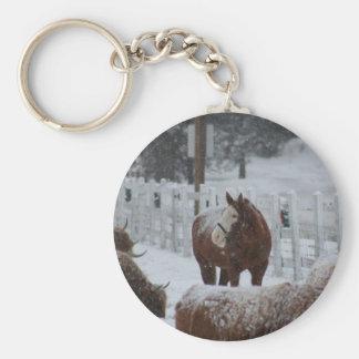 Schnee-Pferd, Yaniras Tasse Standard Runder Schlüsselanhänger