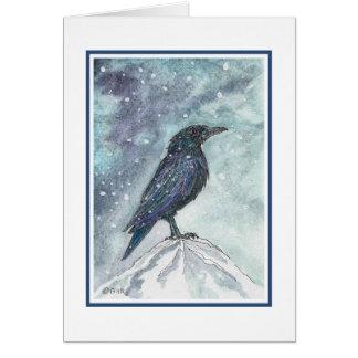 Schnee-Raben-Weihnachten-Karte - verbessert Grußkarte