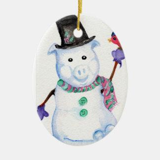 Schnee-Schwein-Verzierung Keramik Ornament