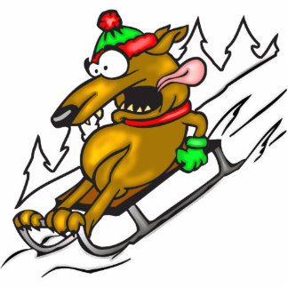 Schnee-Sledding Hund Fotostatue