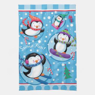Schnee-Spaß-Pinguin-Geschirrtuch Geschirrtuch