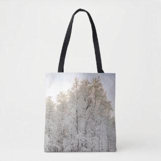 Schnee-Szene für ganz vorbei - drucken Sie Tasche