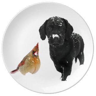 Schnee-Tagesbegleiter - schwarzes Labrador u. Porzellanteller