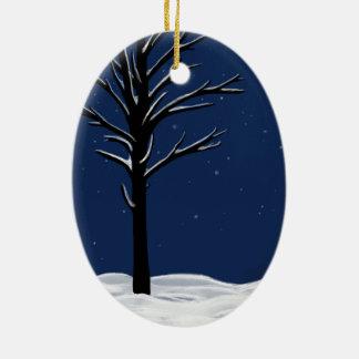 Schnee u. Sterne Keramik Ornament