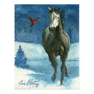 Schnee-Umbau-wildes Pferdepostkarte Postkarte