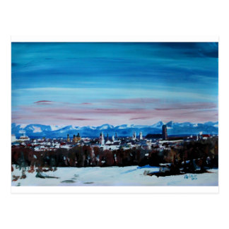 Schnee umfaßte München-Winter-Panorama mit Alpen Postkarte