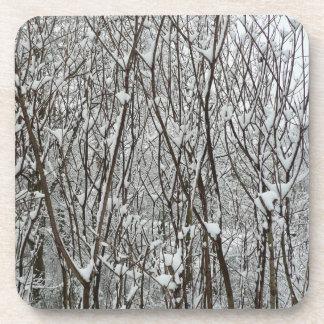 Schnee umfaßte Niederlassungs-Winter-abstrakte Getränkeuntersetzer