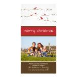 Schnee-Vogel-frohe Weihnacht-Fotokarte (rot)