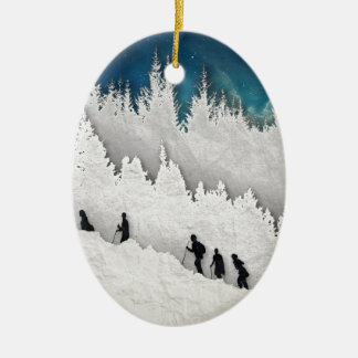 Schnee-Wanderung II Keramik Ornament